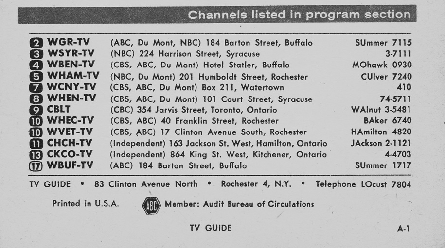 TV Guide July 9 1955 Lake Ontario Edition Channels Listed