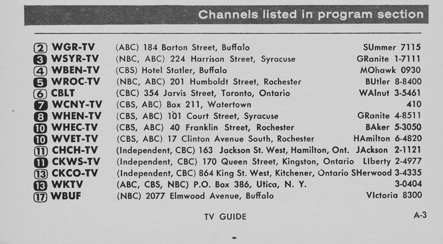 TV Guide September 21 1957 Lake Ontario Edition Channels Listed