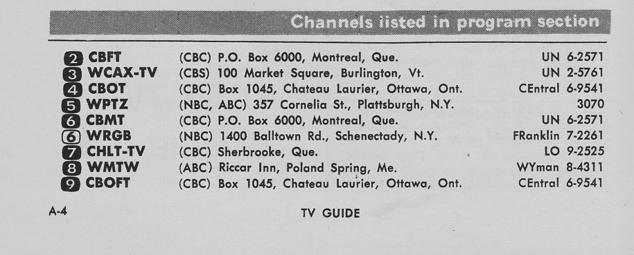 TV Guide January 3 1959 St Lawrence Edition Channels Listed