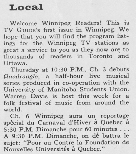 TV Guide February 18 1961 Dakota-Winnipeg-Edition Welcome Winnipeg Readers