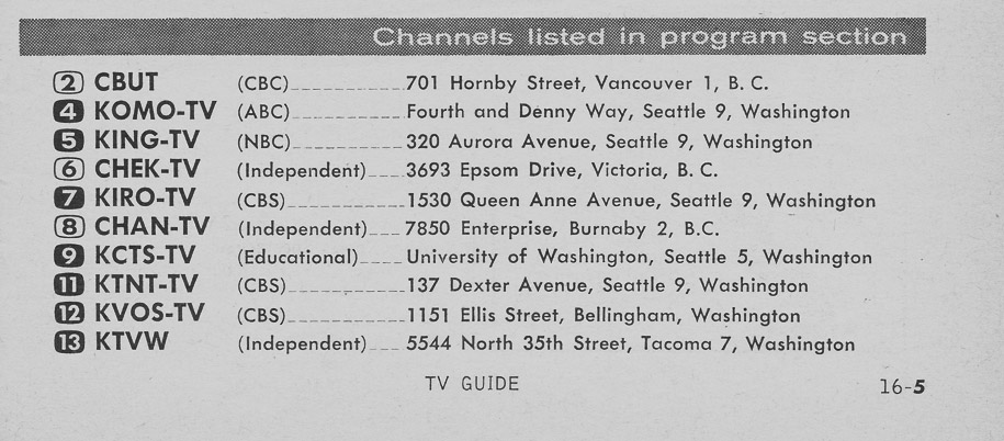 TV Guide August 5 1961 Western Washington Edition Channels Listed