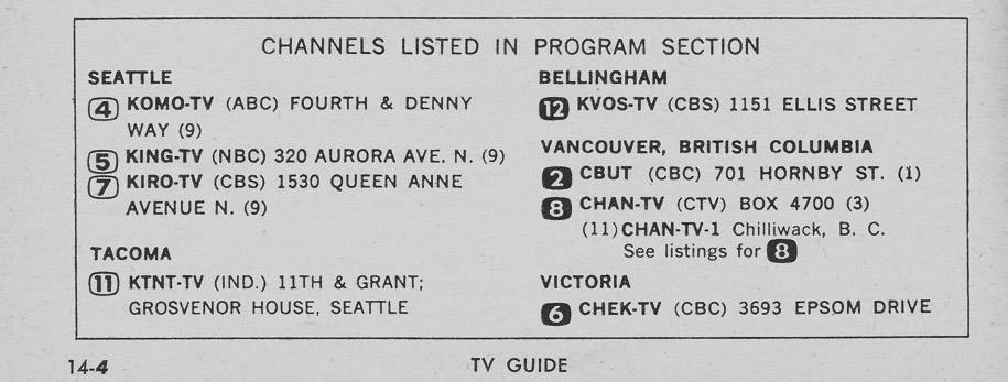 TV Guide March 20 1965 Puget Sound Edition Channels Listed