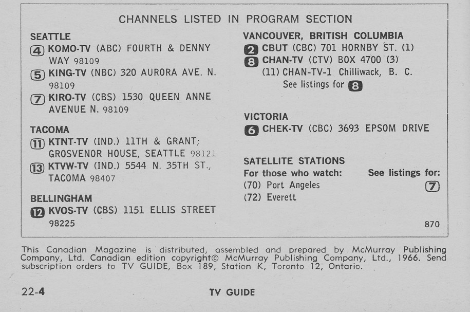 TV Guide March 5 1966 Western British Columbia Edition Channels Listed