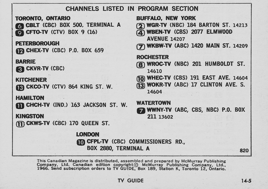 TV Guide December 17 1966 Toronto-Lake Ontario Edition Channels Listed