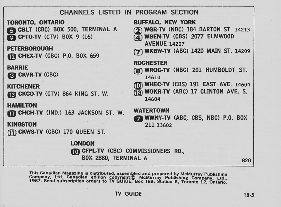 TV Guide June 3 1967 Toronto-Lake Ontario Edition Channels Listed