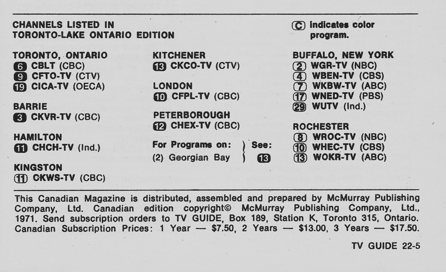 TV Guide June 19 1971 Toronto-Lake Ontario Edition Channels Listed