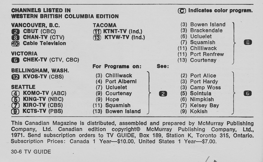 TV Guide November 13 1971 Western British Columbia Edition Channels Listed