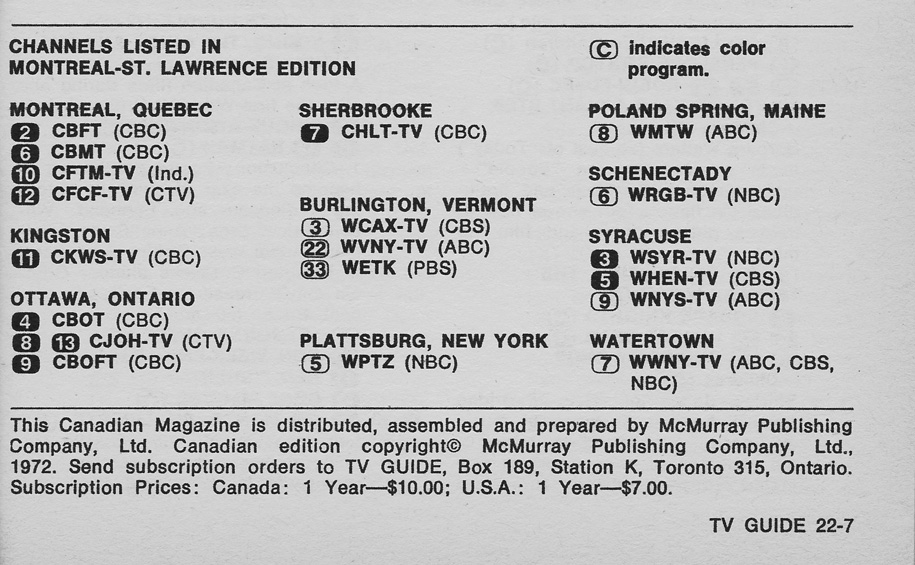 Tv Guide Montreal >> Vintage Channel Guide From Montreal St Lawrence Edition Of Tv Guide
