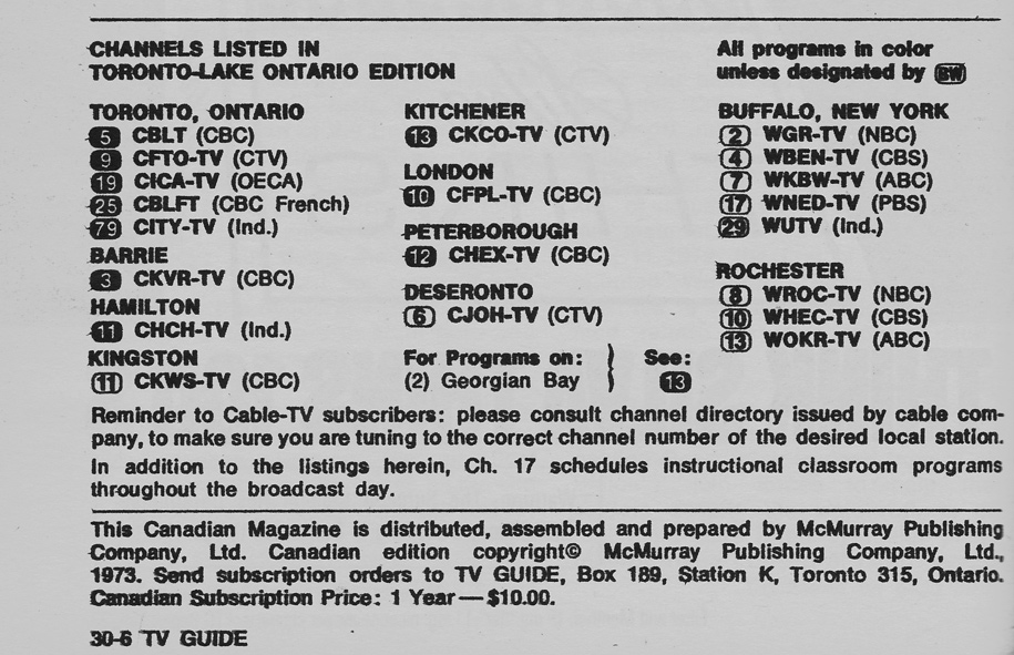 TV Guide November 10 1973 Toronto-Lake Ontario Edition Channels Listed