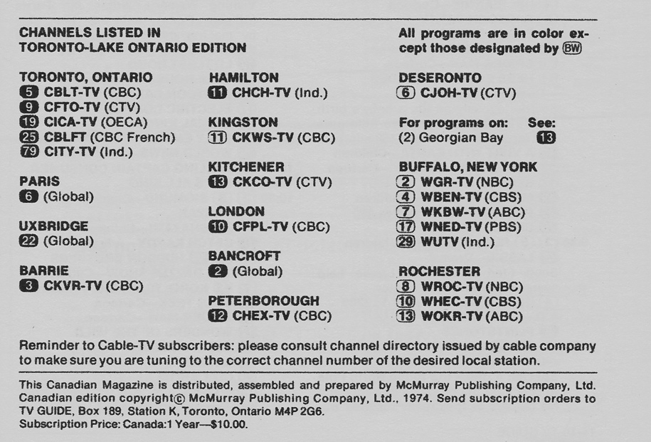 TV Guide December 21 1974 Toronto-Lake Ontario Edition Channels Listed