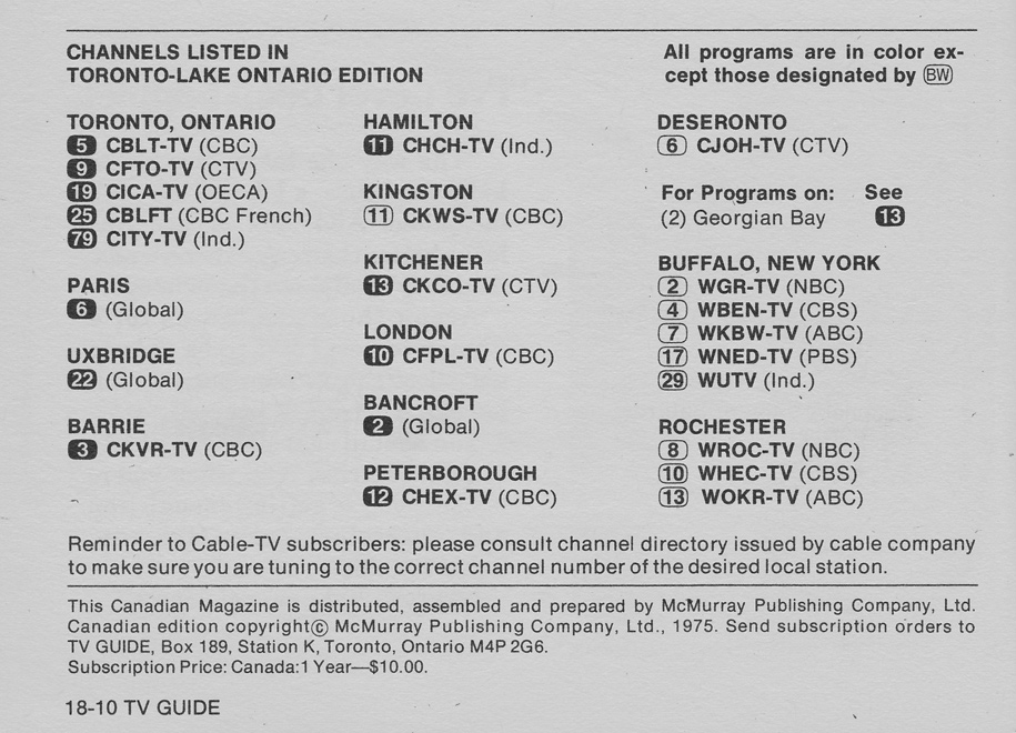 TV Guide March 8 1975 Toronto-Lake Ontario Edition Channels Listed