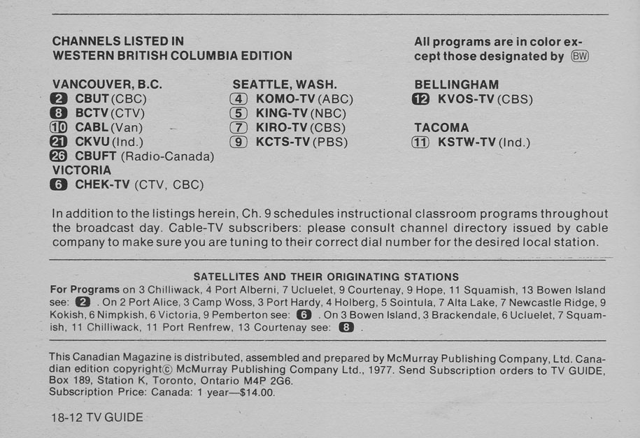 TV Guide January 1 1977 Western British Columbia Edition Channels Listed