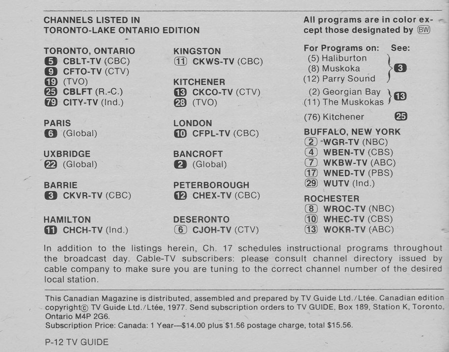 TV Guide April 2 1977 Toronto-Lake Ontario Edition Channels Listed