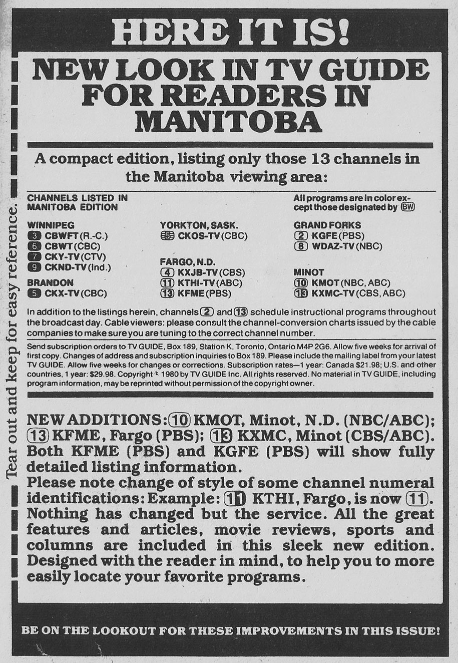 TV Guide February 9 1980 Manitoba Edition New Look in TV Guide for Manitoba