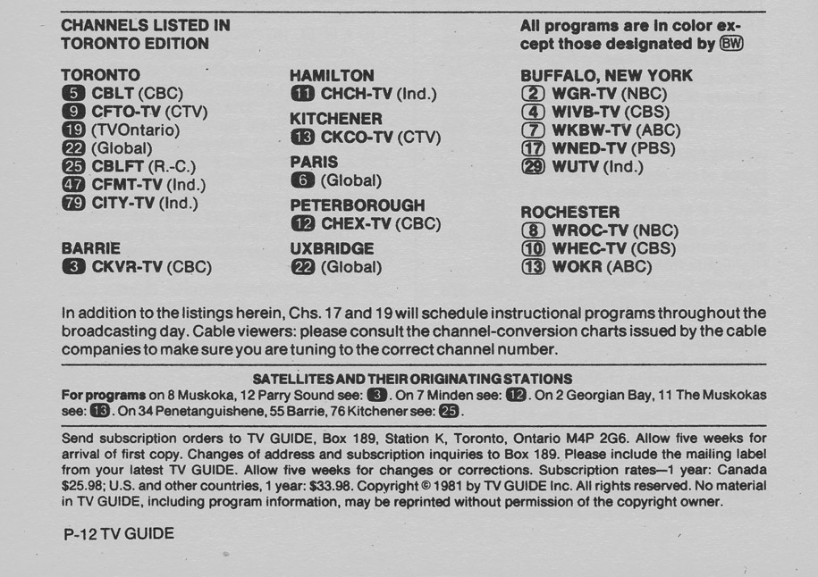 TV Guide May 30 1981 Toronto Edition Channels Listed
