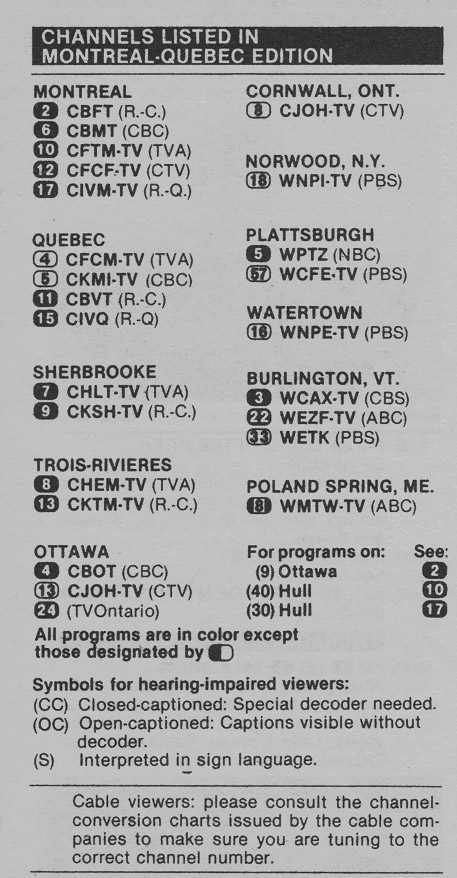 TV Guide September 12 1981 Montreal-Quebec Edition Channels Listed