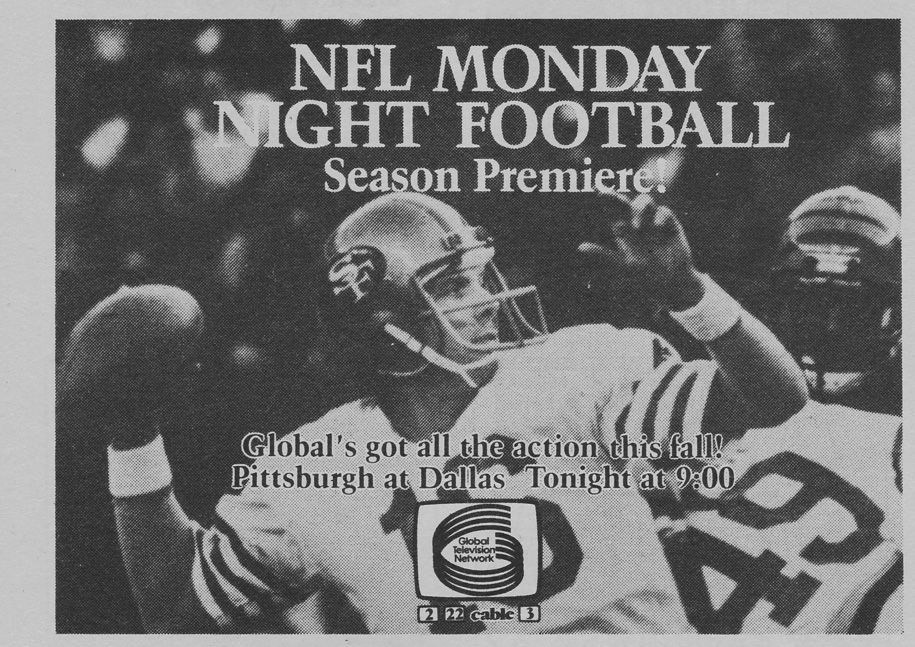 TV Guide September 11 1982 Oshawa Peterborough Edition Global TV NFL Monday Promo