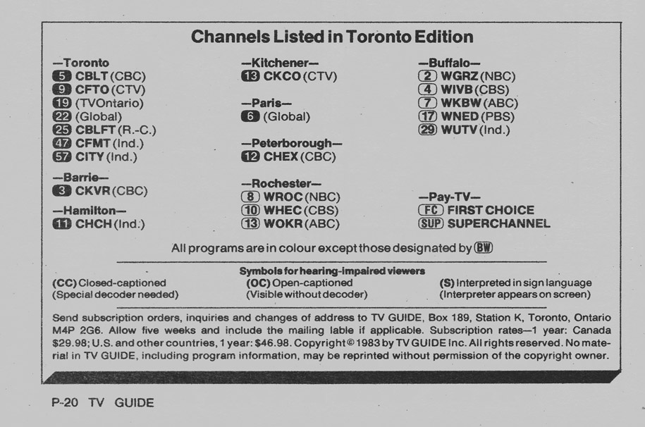 TV Guide September 10 1983 Toronto Edition Channels Listed