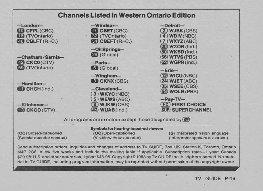 TV Guide September 10 1983 Western Ontario Edition Channels Listed