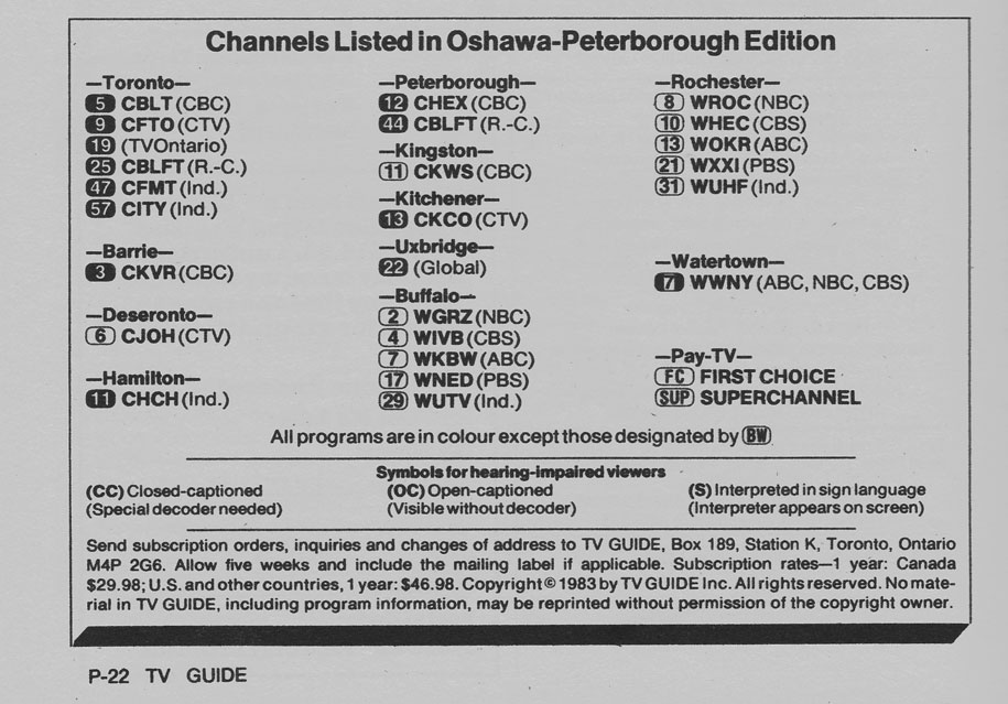TV Guide September 17 1983 Oshawa-Peterborough Edition Channels Listed