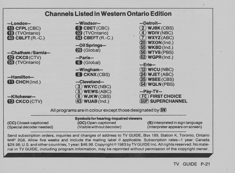 TV Guide September 24 1983 Western Ontario Edition Channels Listed