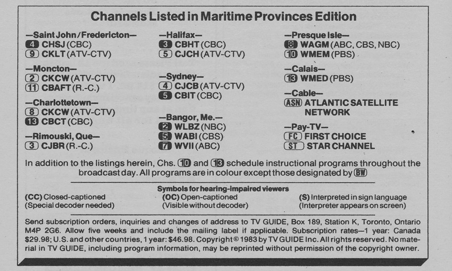 TV Guide October 8 1983 Maritime Edition Channels Listed