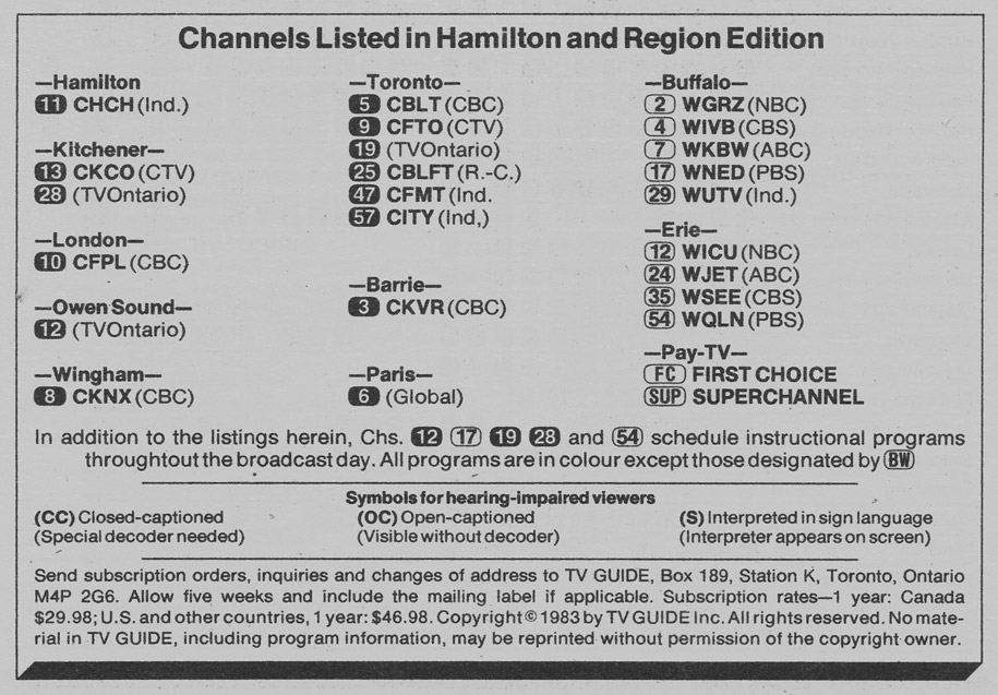 TV Guide November 5 1983 Hamilton & Region Edition Channels Listed