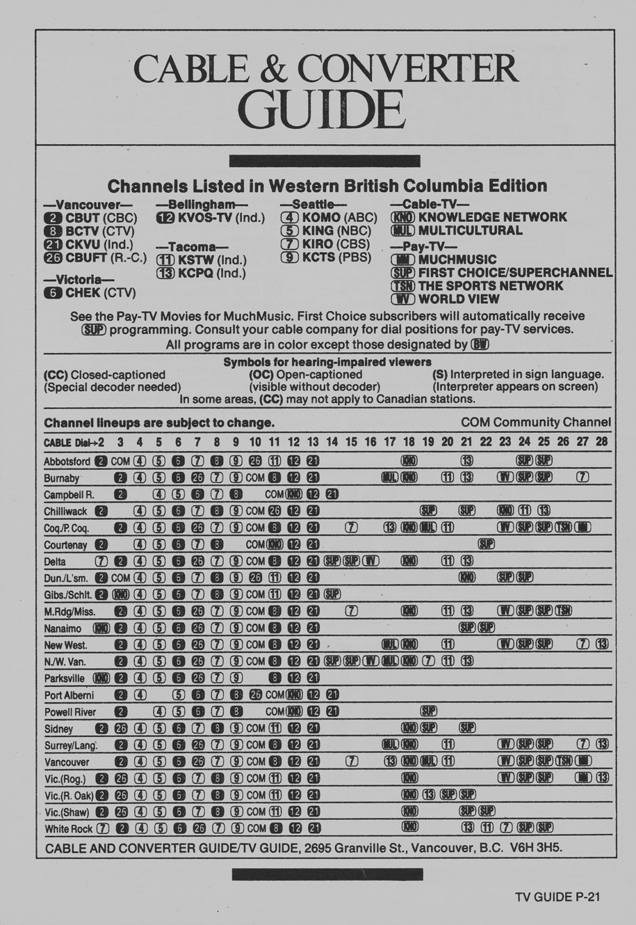 TV Guide September 1 1984 Western British Columbia Edition Cable & Converter Guide