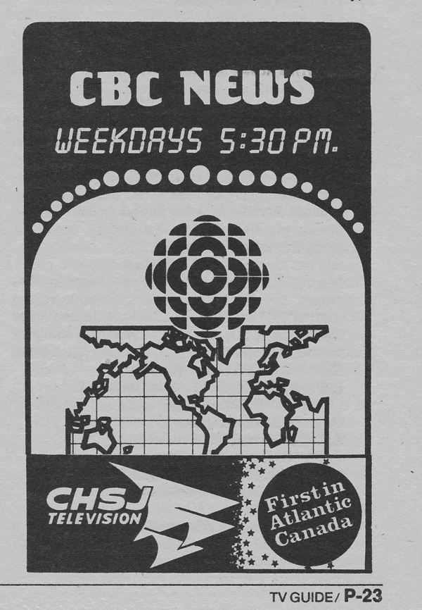 TV Guide August 24 1985 Martime Edition CHSJ-TV CBC News Promo
