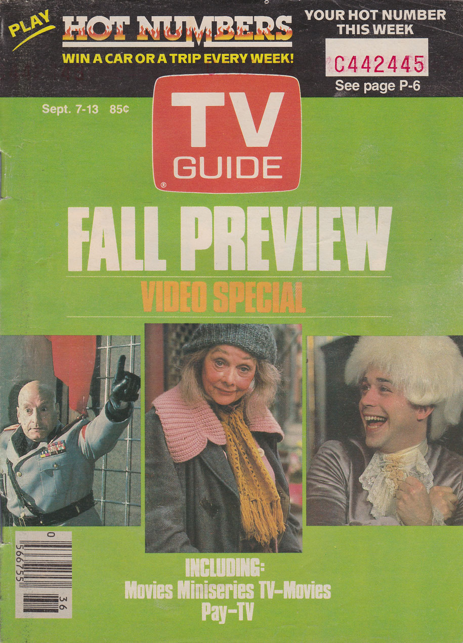 TV Guide September 7 1985 Western Ontario Edition Front Cover