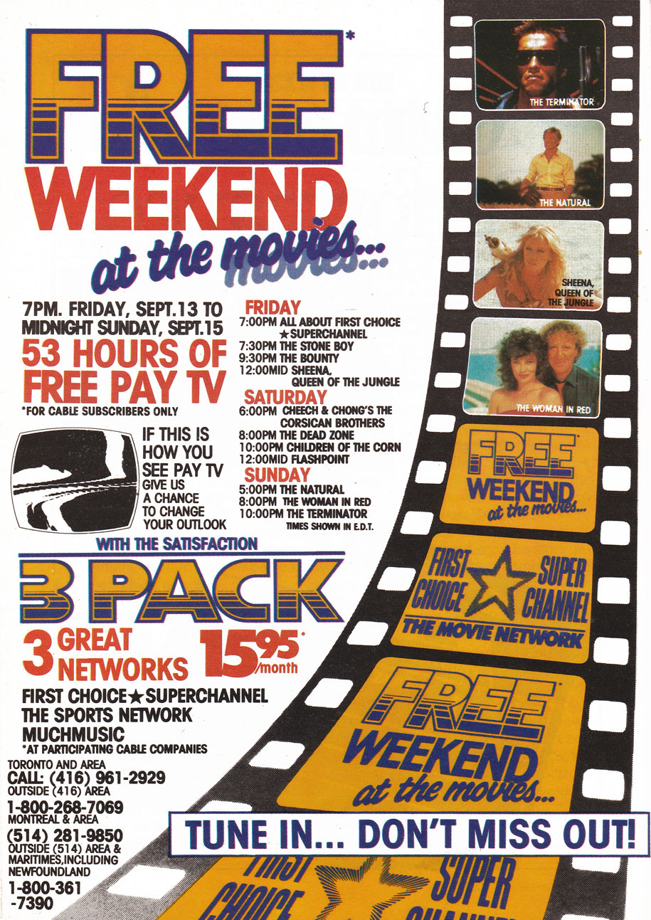 TV Guide September 7 1985 Western Ontario Edition Weekend at the Movies
