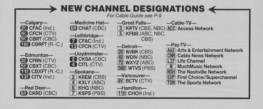 TV Guide September 13 1986 Alberta Edition New Channel Designations