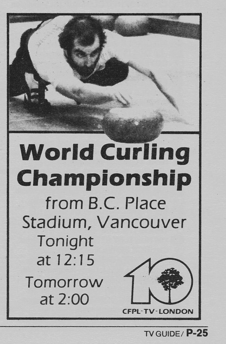 TV Guide April 4 1987 Western Ontario Edition CFPL-TV World Curling Championship