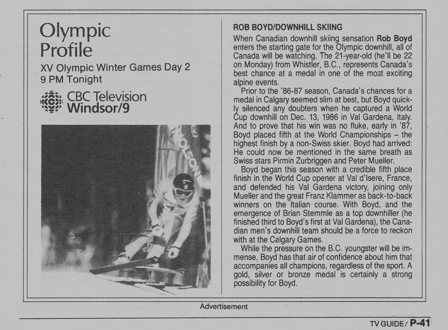 TV Guide February 13 1988 Western Ontario Edition CBET-TV Olympic Profile