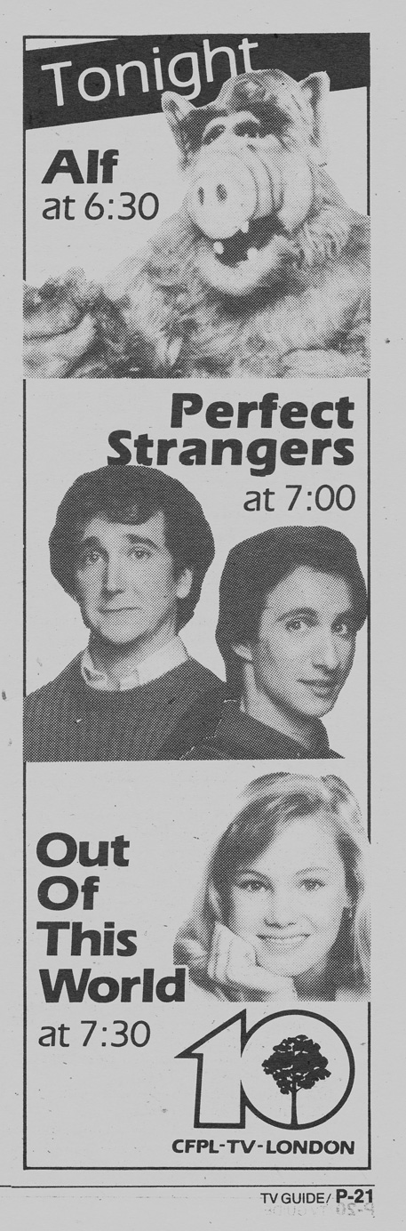 TV Guide February 13 1988 Western Ontario Edition CFPL-TV Alf | Perfect Strangers | Out of This World