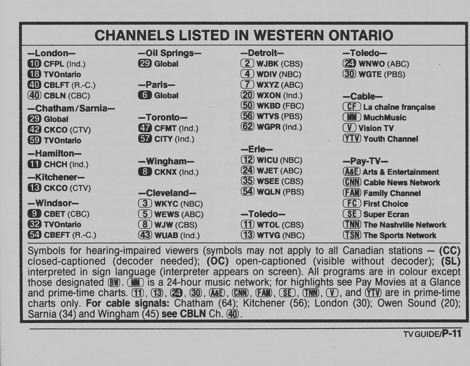 TV Guide October 1 1988 Western Ontario Edition Channels Listed