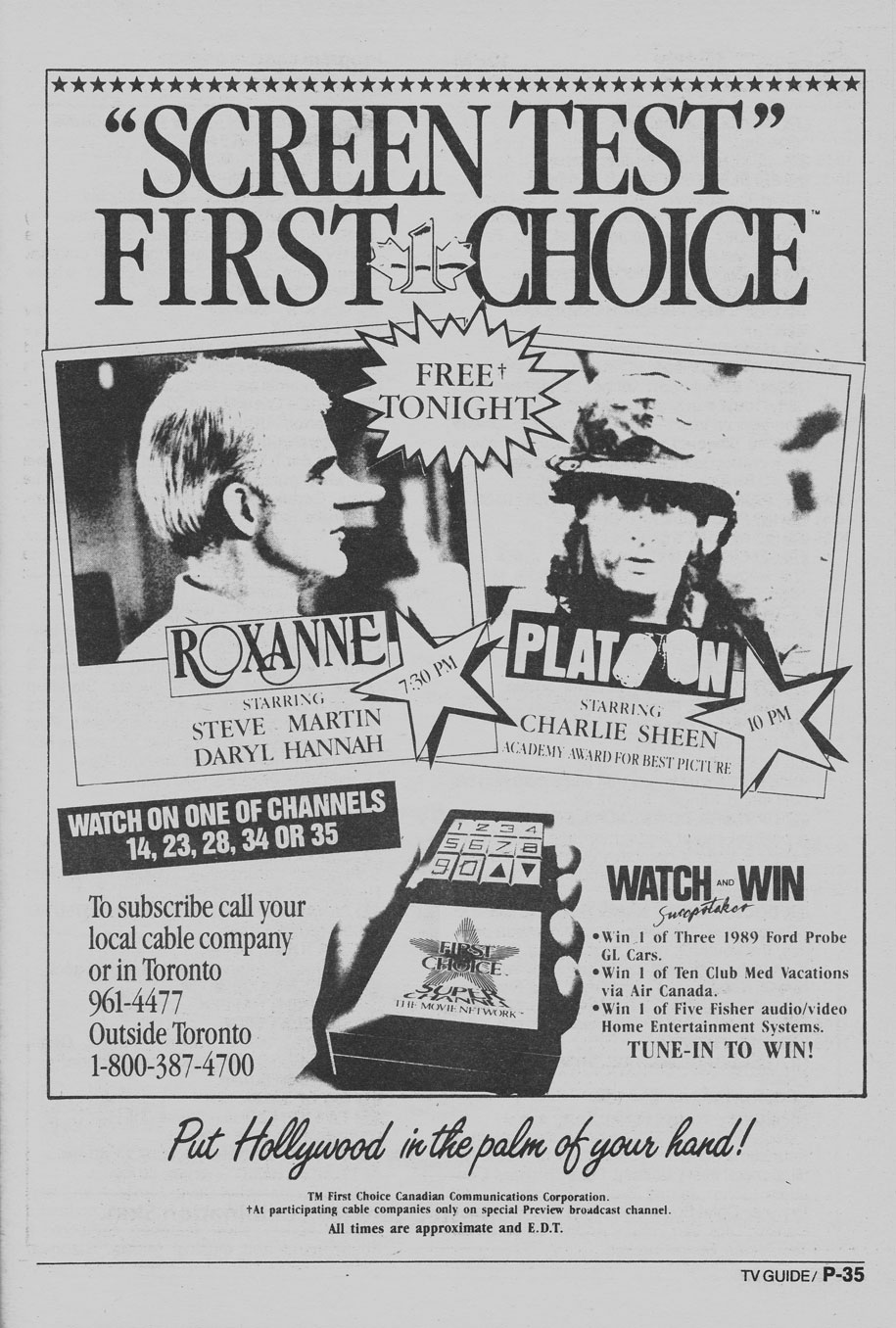 TV Guide September 9 1989 Western Ontario Edition Screen Test First Choice Preview