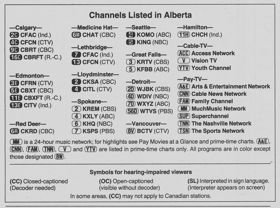 TV Guide November 19 1988 Alberta Edition Channels Listed