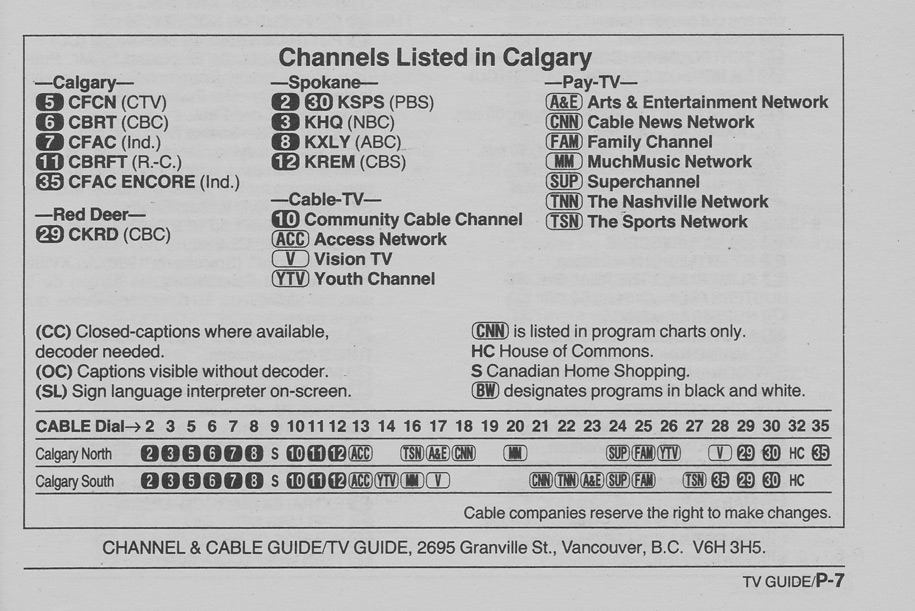 TV Guide December 3 1988 Calgary Edition Channels Listed