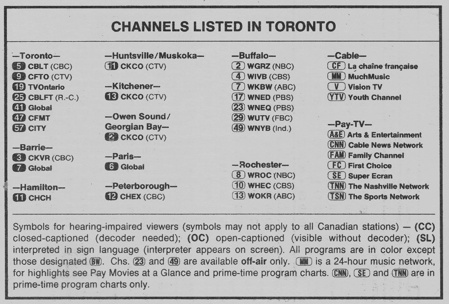 TV Guide December 24 1988 Toronto Edition Channels Listed