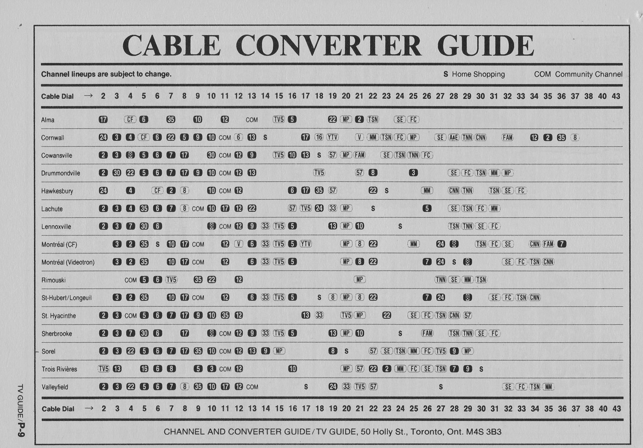 TV Guide January 7 1989 Montreal Edition Cable Converter Guide
