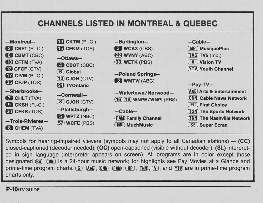 TV Guide January 7 1989 Montreal Edition Channels Listed