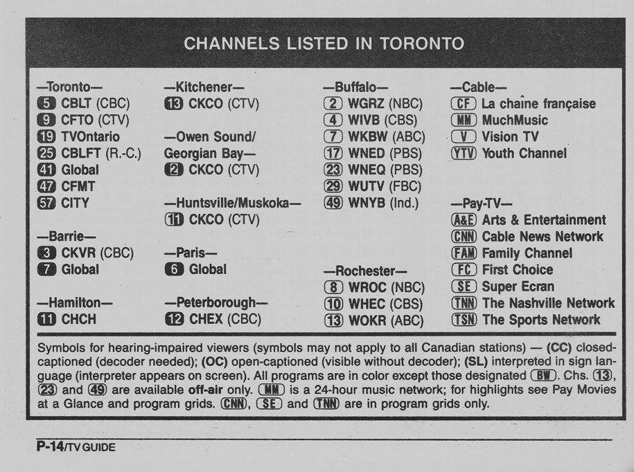 TV Guide March 4 1989 Toronto Edition Channels Listed