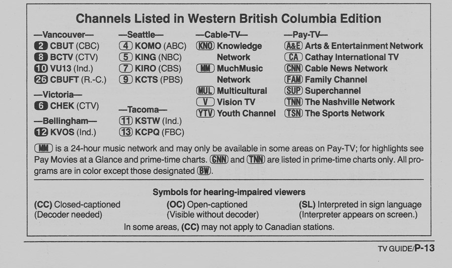 TV Guide March 11 1989 Western British Columbia Edition Channels Listed