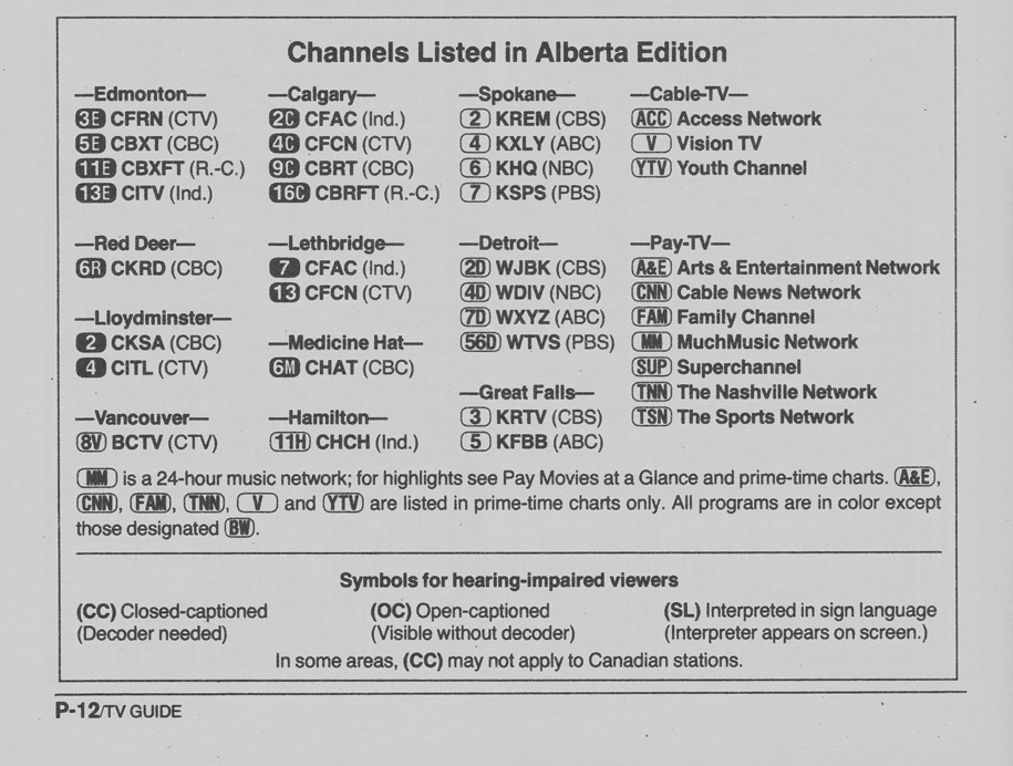 TV Guide April 1 1989 Alberta Edition Channels Listed