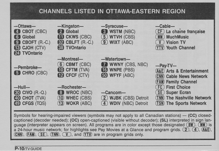 TV Guide May 6 1989 Ottawa-Eastern Ontario Edition Channels Listed