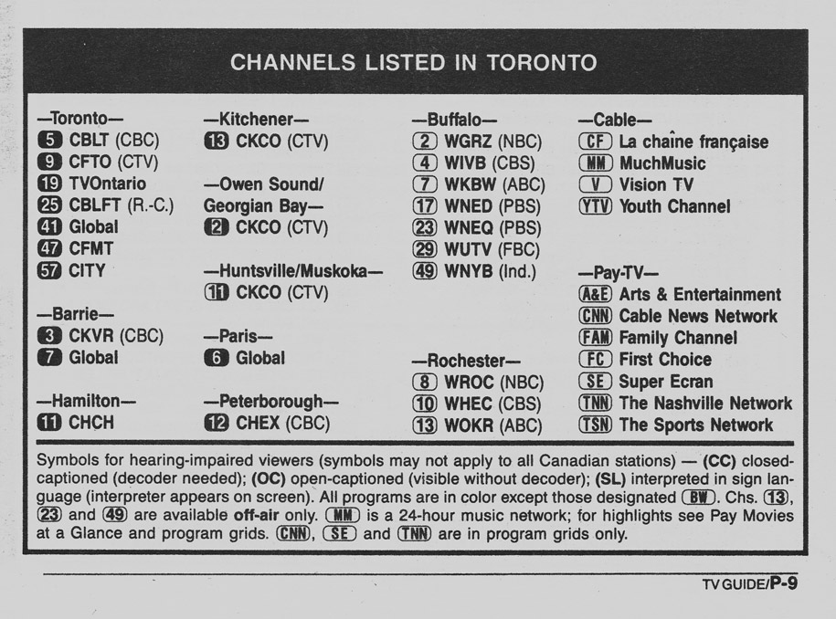 TV Guide May 13 1989 Toronto Edition Channels Listed