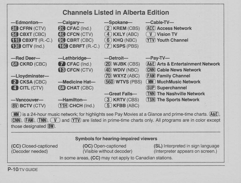 TV Guide July 29 1989 Alberta Edition Channels Listed