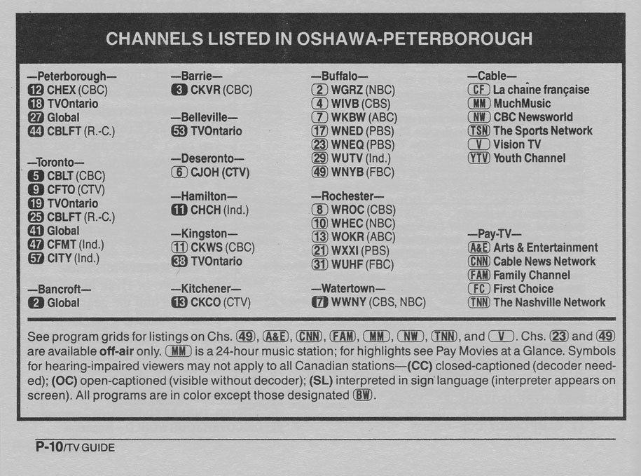 TV Guide December 30 1989 Oshawa-Peterborough Edition Channels Listed