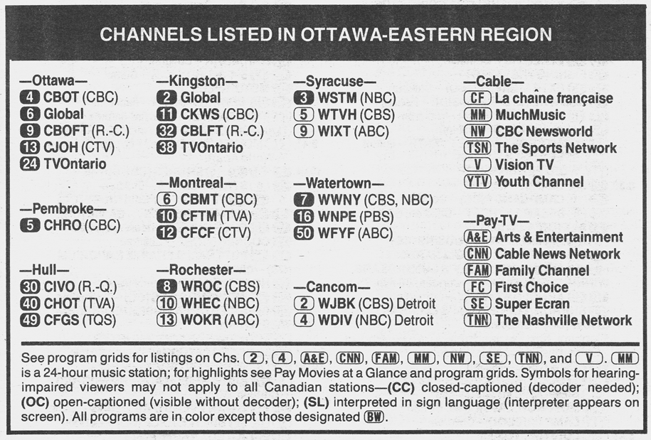 TV Guide January 27 1990 Ottawa-Eastern Ontario Edition Channels Listed
